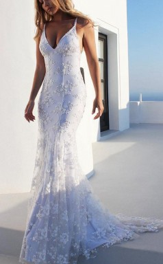 Spaghetti Straps Mermaid Prom Dress V Neck Formal Party Dress with Appliques  JTA0891