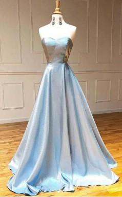 Simple Light Blue Satin Strapless Long A Line Prom Dress  JTA0991