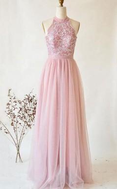 Pink Tulle Lace Strapless High Neck Long Senior Prom Dress  JTA1061
