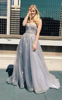 A Line Sweetheart Spaghetti Straps Lace Appliques Long Prom Dress  JTA1101