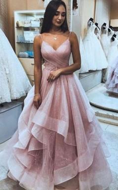 A Line Spaghetti Strap Organza Tiered Pink Prom Formal Dress JTA1241