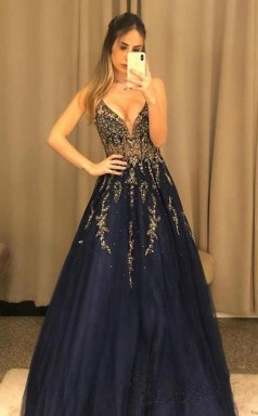 V Neck Line Sexy Party Dress Navy Blue Tulle Long Prom Dress With Beading JTA1251