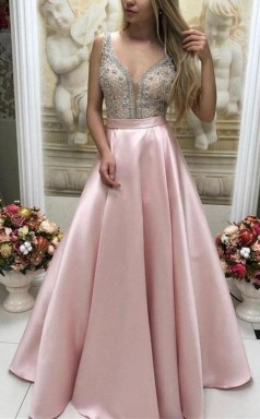 Sparkly Satin Pink Beaded Long Prom Dress with Open Back JTA1301