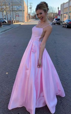 A Line Satin Floor Length Pink Prom Dress With Pockets JTA1331