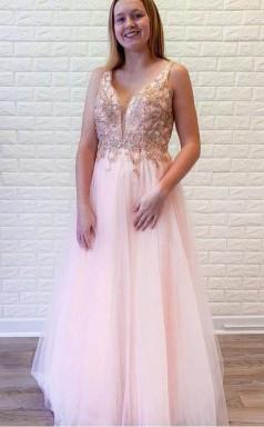 A Line Pink Tulle V Neck Backless Beading Crystal Prom Formal Dress JTA1511