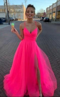 A Line V Neck Hot Pink Tulle Prom Dress Formal Dress JTA1701