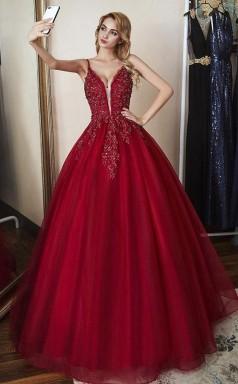 Elegant Straps Ball Gown Beaded Burgundy Long Prom Dress JTA1801