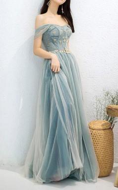Elegant Off Shoulder A Line Beaded Long Prom Dress with Appliques JTA1831