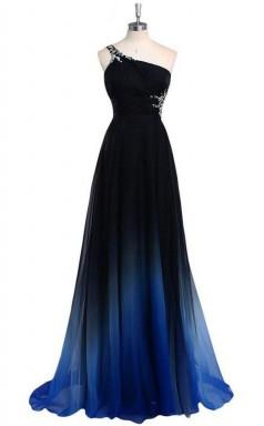 One Shoulder Chiffon Prom Evening Dress With Beads JTA2091