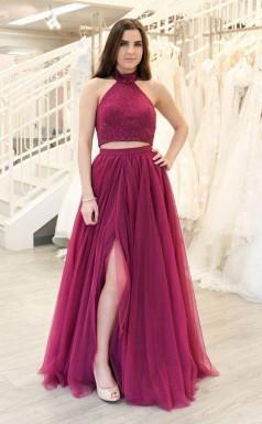A Line Two Piece Fuchsia Prom Dress Long Split Tulle Evening Dress  JTA2191