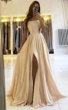 Simple Champagne Satin Long Prom Dress formal dress With Split JTA2291