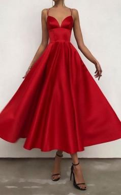 Simple V Neck Satin Burgundy Tea Length Prom Evening Dress JTA2311