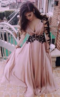 V Neck Long Sleeve Lace Prom Formal Dress JTA2451