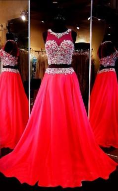 Two Piece Scoop Sleeveless Red Chiffon Prom Dress With Beading JTA2781