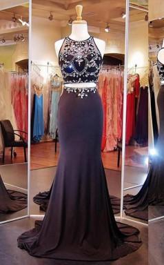 Two Piece Mermaid Black Prom Formal Dress With Beading JTA2901