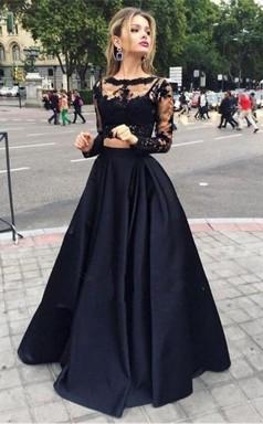 Bateau Neck Two Piece Long Sleeves Lace Evening Dress Prom Dress JTA3191