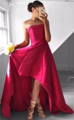 Fabulous Strapless High Low Fuchsia Pleated Prom Dress JTA3521