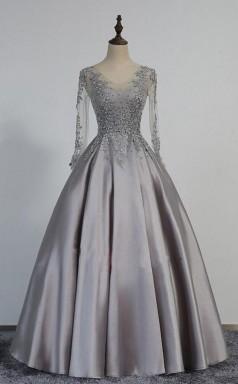 Vintage V Neck Long Sleeves Appliques Beading Long Evening Dress JTA3641