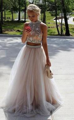 Two Piece High Neck Sleeveless Floor-Length  Prom Formal Dress JTA3711