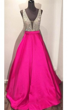V Neck Floor-length Ball Gown Hot Pink Satin Prom Dress With Beading JTA3791