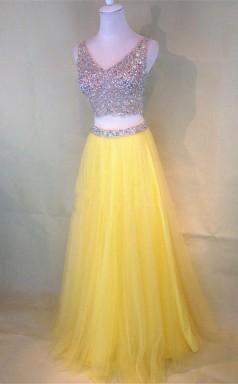 Two-Piece Beaded Sleeveless V Neck Tulle Yellow Prom Dress JTA3801