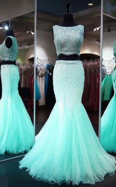 Mermaid Neck Lace Tulle Floor-length Beading Two Piece Prom Dress JTA3851