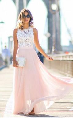 Gorgeous Crew Long Pink Chiffon Prom Dress with White Lace Top JTA3911