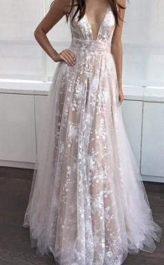 A Line Deep V Neck Floor-length Sleeveless Tulle Prom Formal Dress JTA4031