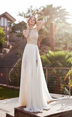 Sleeveless High Neck Backless Chiffon Prom Formal Dress JTA4111
