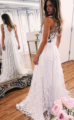 Sweep-train A Line White Lace V Neck Prom Formal Dress  JTA4171