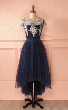 Cute Dark Blue Tulle Lace High Low Prom Formal Dress  JTA4211