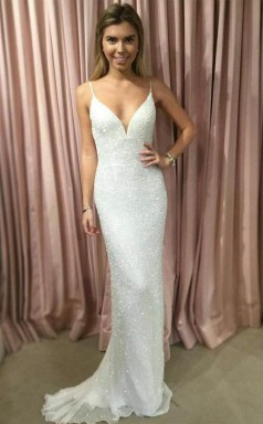 Sheath Spahgetti Straps Sweep Train White Sequined Prom Party Dress  JTA4251