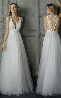 Simply V Neck White Tulle  Long Prom Dress JTA4441