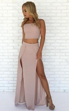 Special Two Piece Straps Long Prom Dress with Slit JTA4451