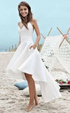 Straps High Low Ivory Satin Sleeveless Backless Prom Dress JTA4461