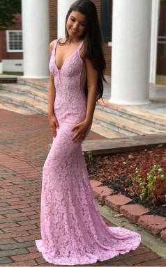 Mermaid Deep V Neck Floor Length  Lace Prom Dress with Beading JTA4501