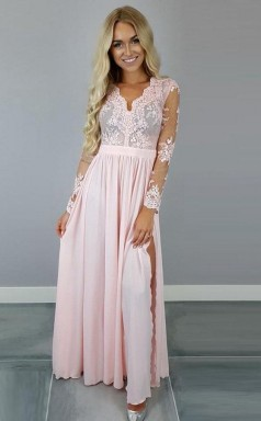 V Neck Long Sleeves Pink Chiffon Slit Prom Dress with Appliques JTA4571