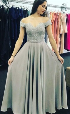 Off-the-Shoulder Sweep Train Grey Chiffon Prom Dress with Appliques JTA4731
