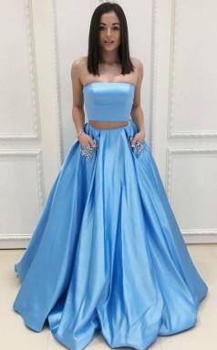 Two Piece Strapless Sweep Train Blue Satin Prom Dress with Pockets JTA4791