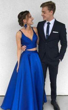 Two Piece Deep V Neck  Royal Blue Satin Prom Formal Dress  JTA4861