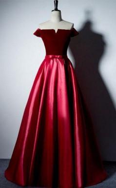 Off The Shoulder A Line Simple Long Prom Formal Dress JTA4891