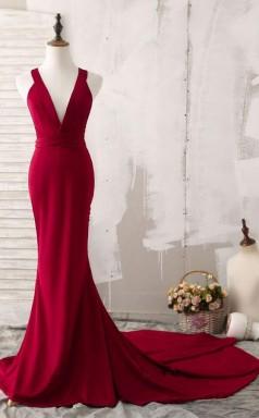 Elegant Red Mermaid Plunging V Neck Prom Evening Dress  JTA4931