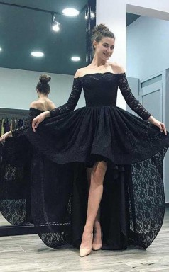 Off-the-Shoulder High Low Pink Long Sleeves Lace Prom Dress JTA4961