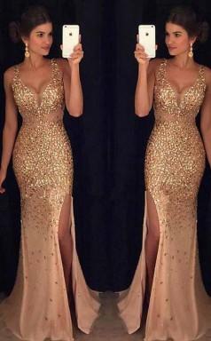 Gorgeous Tulle V Neck Neckline Mermaid Evening Dress With Beadings JTA5071