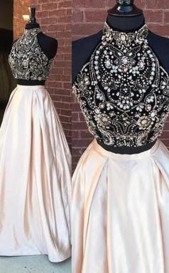 Elegant Two Pieces High Neck Beaded Cheap Long Prom Dress JTA5131