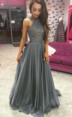 Grey Chiffon A Line Rhinestone Beaded Top Dark Long Prom Dress JTA5141