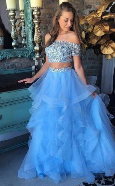 Two Piece Off-the-Shoulder Blue Tiered Organza Prom Dress with Sequins JTA5201