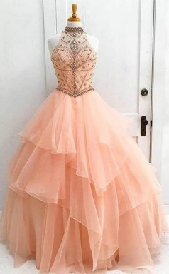 Ball Gown High Neck Orange Long Tulle Prom Dress with Beading JTA5211