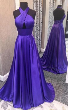 Gorgeous Halter Satin Long Prom Formal Dress with Open Back  JTA5381