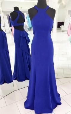 Gorgeous Halter Royal Blue Mermaid Long Evening Dress  JTA5391